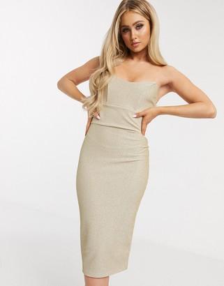 ASOS DESIGN sparkly bandeau corseted rib midi dress in beige