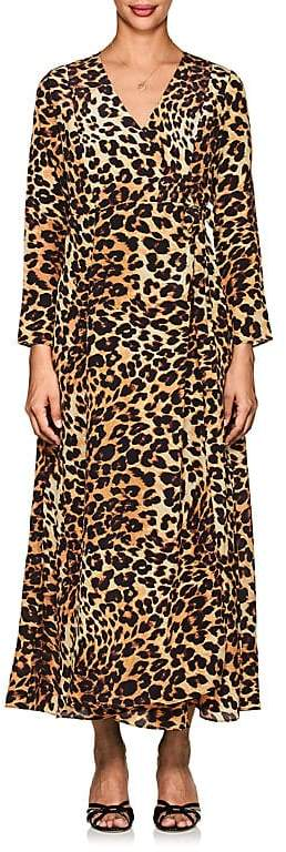Leone WE ARE Women's Leopard-Print Silk Maxi Wrap Dress