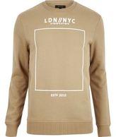 River Island MensBrown printed crew long sleeve sweater