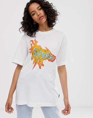 Cheap Monday organic cotton t-shirt with flame graphic-White