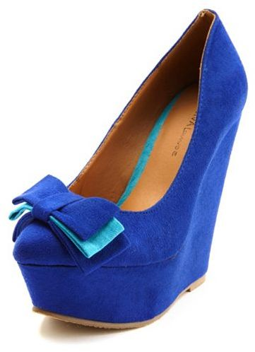 Charlotte Russe Sueded Bow-Front Pointy-Toe Wedge