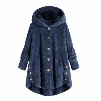 Feytuo Hooded Coat for Women Fashion Solid Button Jacket Loose Hooded Sweater with Tapered Tail Coat Button Coat Women Fashion Print Fluffy Top Loose Sweater Women's Button High Collar Plush Jacket