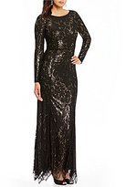 JS Collections Sequin Lace Long Sleeve Illusion Gown