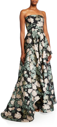 Mestiza New York Emery Floral Jacquard Strapless A-Line Gown
