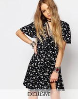 Reclaimed Vintage Button Front Mini Tea Dress With Ruffle Detail In Floral Print
