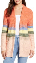 Caslon Ombre Stripe Open Front Long Cardigan