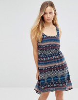 Only Mixed Print Sleeveless Skater Dress