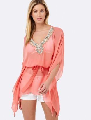 Forever New Gina embellished Kaftan - Coral - m l