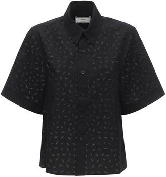 Ami Alexandre Mattiussi Eyelet Lace Cotton Poplin Shirt