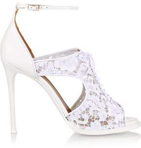 Givenchy Woman Platform Sandals In White Leather And Lace White Size 39.5 Givenchy NhLSyR