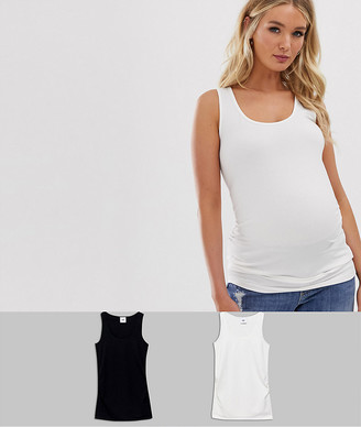 Mama Licious Mama.Licious Mamalicious Maternity 2 pack organic cotton tank in black and white-Multi