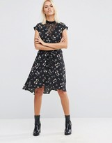 Asos Lace Insert Tea Dress in Ditsy Floral