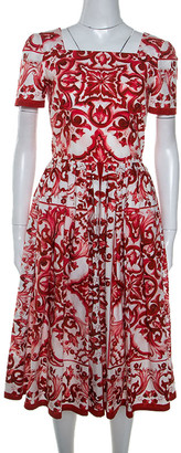 Dolce & Gabbana Red Majolica Printed Cotton Pleated Midi Dress S