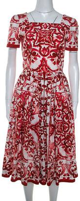 Dolce & Gabbana Red Majolica Printed Cotton Pleated Midi Dress S