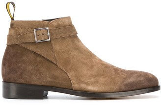 Doucal's Textured Buckled Ankle Boots