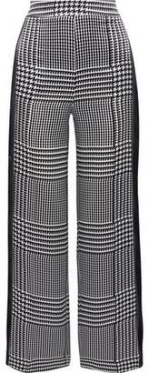 Victoria Victoria Beckham Houndstooth Silk-satin Wide-leg Pants