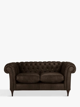 John Lewis & Partners Cromwell Chesterfield Small 2 Seater Leather Sofa, Dark Leg