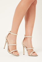Missguided Nude Three Strap Barely There Heeled Sandals