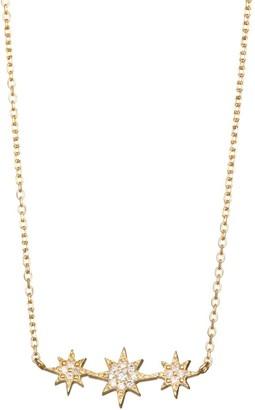 Anzie Aztec North Star Micro-Bar 14K Gold & Diamond Necklace