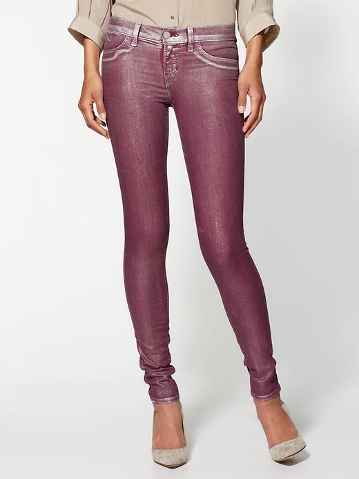 J Brand Low Rise Coated Skinny Jeans