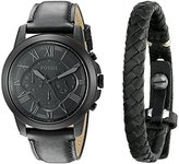 Fossil Men's FS5147SET Grant Chronograph Black Leather Watch and Bracelet Set