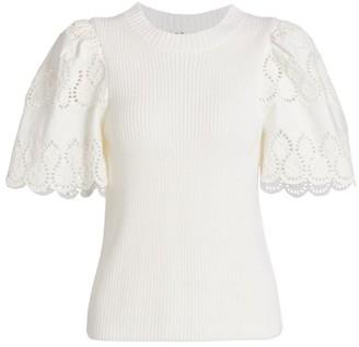 Sea Nadene Lace Eyelet Wool-Blend Short-Sleeve Sweater