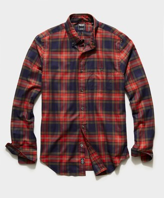 Todd Snyder Italian Navy Red Check Flannel Button Down Shirt