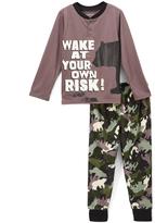 Komar Kids Brown Camo 'Wake at Your Own Risk' Pajama Set - Boys