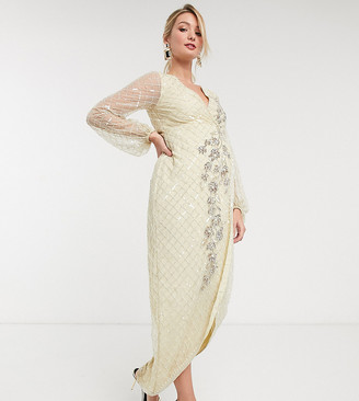 ASOS DESIGN Maternity maxi dress in lattice and floral artwork embellishment with blouson sleeve