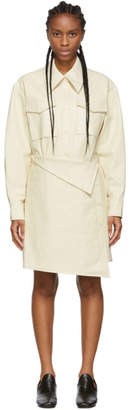 Low Classic White Faux-Leather Trench Dress