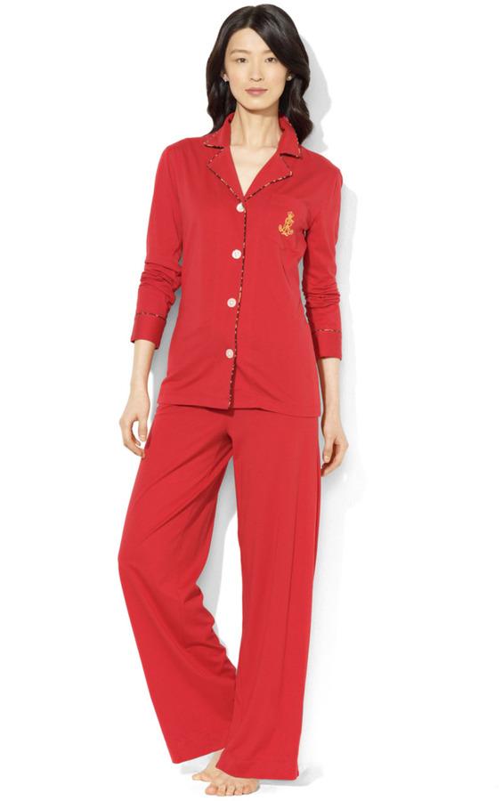 Lauren Ralph Lauren Harbor Hill Two-Piece Pajama Set with Leopard Trim