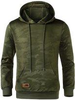 HEMOON Men's Casual Knitted Pocket Hoodie Camouflage Sweatshirt Top L