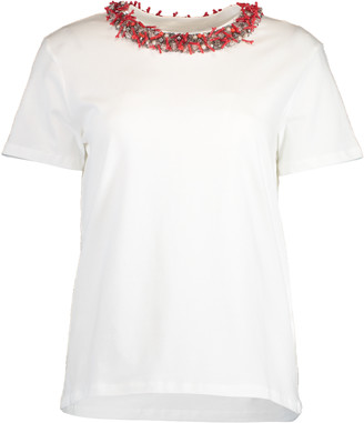 Blumarine Short Sleeve Coral Collar T-Shirt