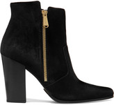 Balmain Anthea Suede Point-toe Ankle Boots - Black