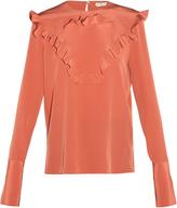 Fendi Ruffle-front crepe de Chine blouse