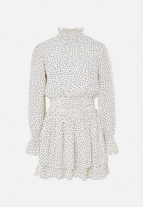 Missguided White Polka Dot High Neck Shirred Waist Dress