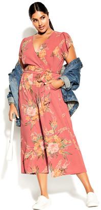 City Chic Grand Floral Jumpsuit - guava