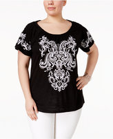 INC International Concepts Plus Size Embroidered Top, Created for Macy's