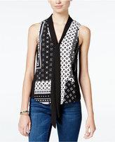 Miss Chievous Juniors' Printed Tie-Neck Blouse