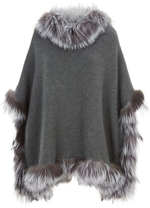 William Sharp Fox-Trim Hooded Poncho