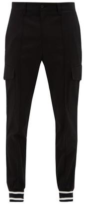 Dolce & Gabbana Striped-cuff Cotton-blend Twill Cargo Trousers - Mens - Black