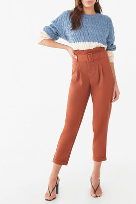 Forever 21 D-Ring Belt Cuffed Trousers