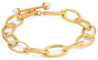 Dean Davidson Origami 22K Yellow Goldplated & 6MM Freshwater Pearl Infinity Bracelet