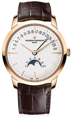 Vacheron Constantin Patrimony 18K 5N Rose Gold & Alligator Strap Moon Phase & Retrograde Date Watch