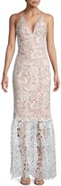 Dress the Population Sophia Plunging Lace Trumpet Gown