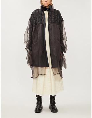 PHAEDO High-neck grosgrain-trim silk-blend and down coat