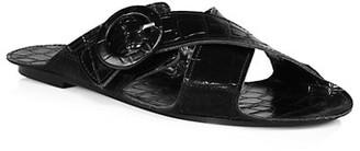 Definery Loop Cross Croc-Embossed Leather Flat Sandals