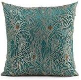 Fablegent 18 x 18-Inch Sapphire Blue Peacock Design Elegant Decorative Throw Pillow Cover