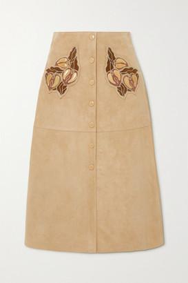 Chloé Appliqued Suede Midi Skirt - Beige