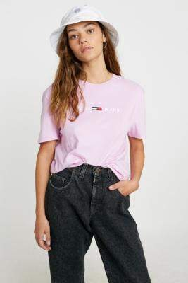 Tommy Jeans Clean Linear Logo T-Shirt - pink XS at Urban Outfitters